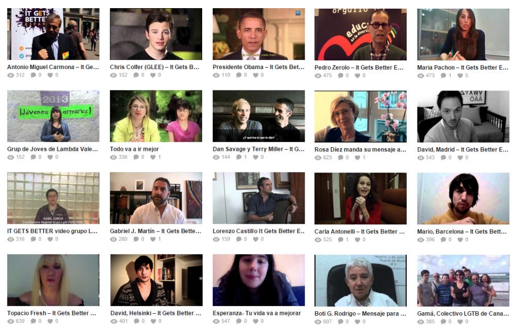 Algunos de los vídeos It Gets Better España